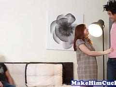 Redhead cutie cuckolds her boyfriend
