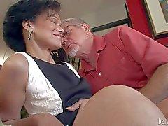Elegant mature woman Sage Hughes gives blowjob