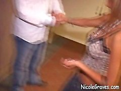 Hot nicole graves gets 2 facials, CIM in men's bathroom