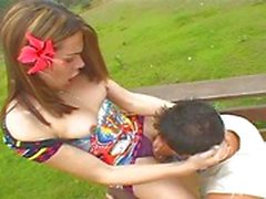 Sexy brunette fucks with guy outdoors