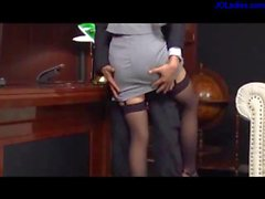 Busty Secretary In Sexy Stockings Getting Her Legs Licked Squirting While Fingered Giving Footjob Sucking Cock On The Couch In Her Boss Office
