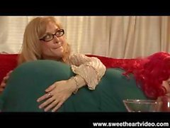 Nina Hartley and a red-haired chubster have some sweet lez