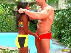 Brazilian babe Samira Ferraz gets a cock to suck