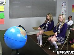 Schoolgirls horny in detention get down and dirty
