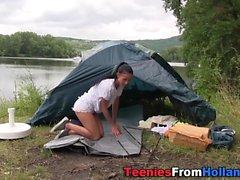 Camping teen cum soaked