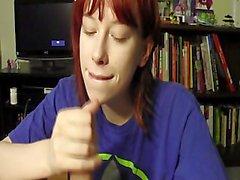 Cute teen redhead Zoe takes big cum facial