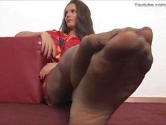 Sheer Nylons Pantyhose Feet Soles & Legs Brunette