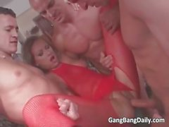 Nasty brunette MILF blows hard cock part5