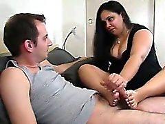 Chubby Wife Gives A Footjob And Handjob