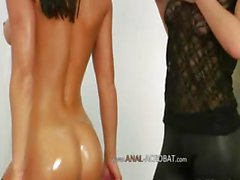 Lesbian anal babes using brutal toys
