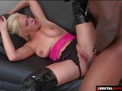 Super Hawt Haunch High Latex Boots On An Interracial Anal Floozy