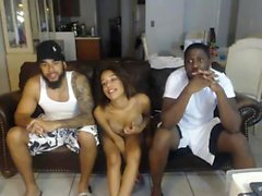 HOT Interracial Threesome On Webcam