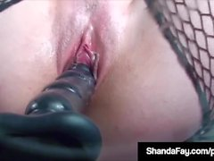 Horny Wife Shanda Fay Bangs Pussy With Dildo On Glass Table!