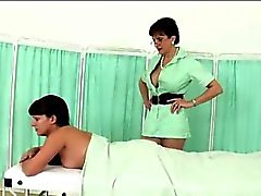 Mature british matron massages babe
