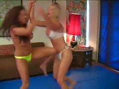 Blonde v Brunette Bikini RIpping Catfight