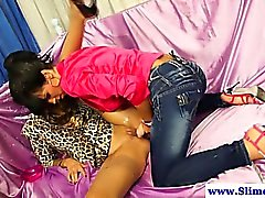 Hottest strapon wielding lesbians using toy