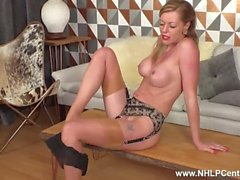 Blonde milf Holly Kiss fingers fucks wet pussy in vintage nylons stilettos
