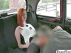 Redhead amateur tricked by her taxi driver