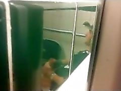 caught men jerking in public toilet