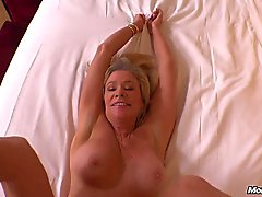 Busty blonde HOT cougar fucks POV