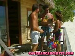 Gangbang Archive - tropical beach slut gangbanged