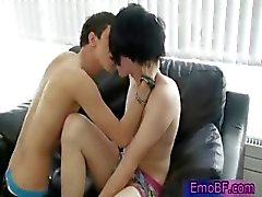 Pierced homo emo teen getting sucked