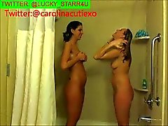 Blonde and Brunette Take a Shower