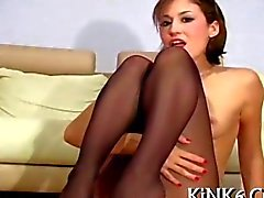 Hot quim in black pantyhose gets teased