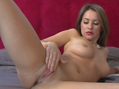 Flawless brunette amateur playing with her pussy