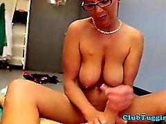 POV tugging fun with naked granny in glasses