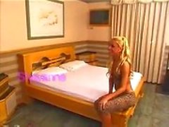 Yummy Blondie Stuffs Guy Butt On A Bed