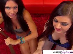 Jessica Jaymes and Kendall Karson suck a huge white cock