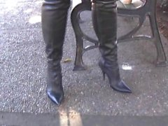 thigh boots tries on