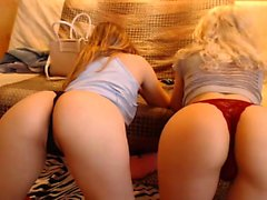 Busty blonde lesbian pleasured with toys by brunette babe