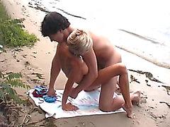 Flabby pair has hardcore pleasure on the beach