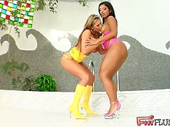 Eliza and Kyra fist each other's pussies furiously. They each get a good fist inside the other girl and thrust it in and out