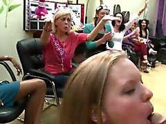 Horny ladies at hairsalon stripper party