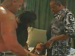 Cute asian milf gets gang banged by tattooed rapists