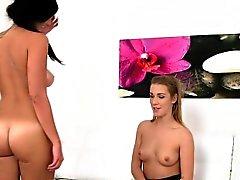 Brunette gets female agent wet
