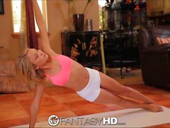 FantasyHD Hot teen's yoga poses include riding big cock