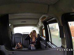 Huge tits American blonde bangs in British fake taxi