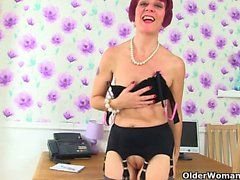 British milfs Penny and Molly love being your secretary
