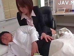 Topping handjob at work place