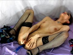 Brunette mom in law in stockings riding after toying