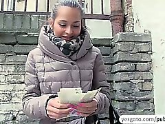 Cute Emily gets persuaded to have public sex in exchange of cash
