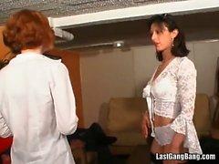 Horny milf in white lingerie crazy orgy