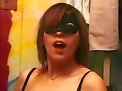 Brunette Latina wearing a mask trades head and then gets nailed