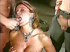Italian Mature women gangbanged with 3 young guys