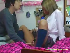 hot tanned schoolgirl getting her tits rubbed pussy fingered on the bed in the dormitory