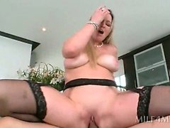 Fine ass blonde MILF jumping phallus like a real slut